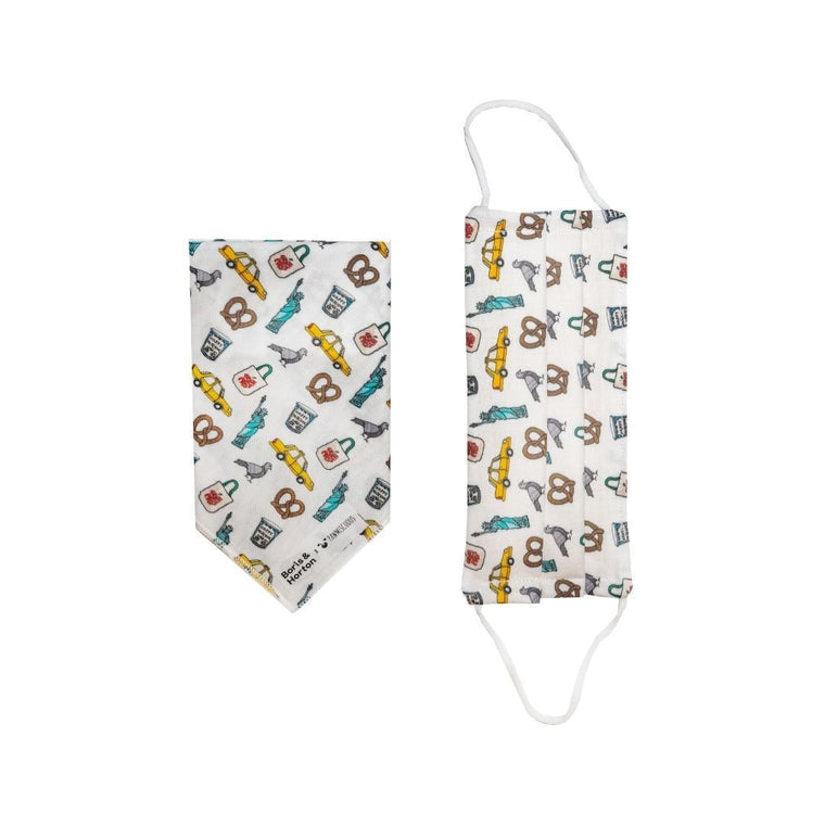 Boris & Horton x Pawmiscuous Face Mask and Bandana Set in NYC Motif