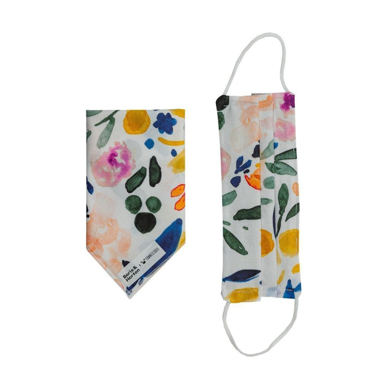 Boris & Horton x Pawmiscuous Face Mask and Bandana Set in Light Floral