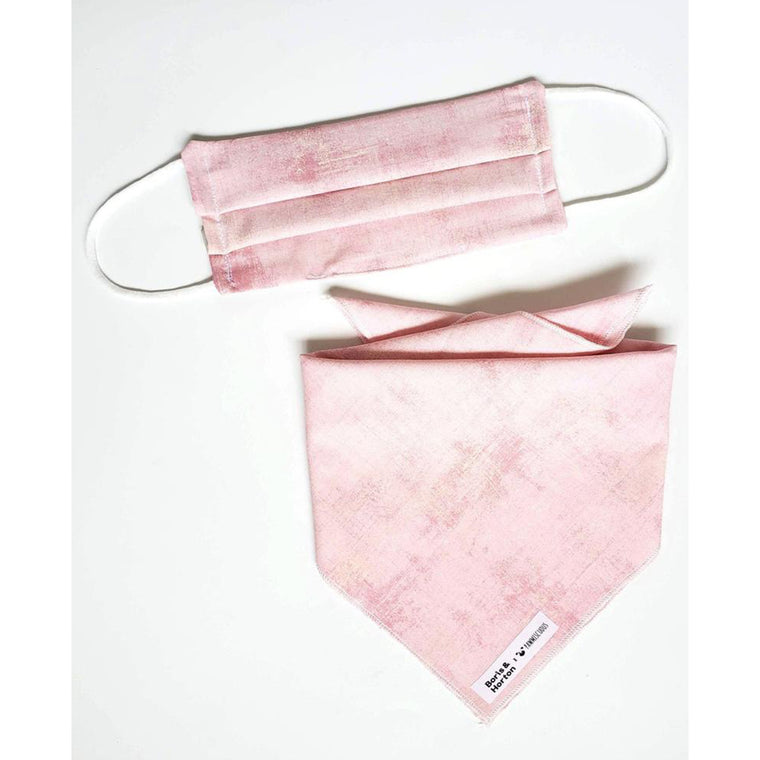 Boris & Horton x Pawmiscuous Face Mask and Bandana Set in Pink