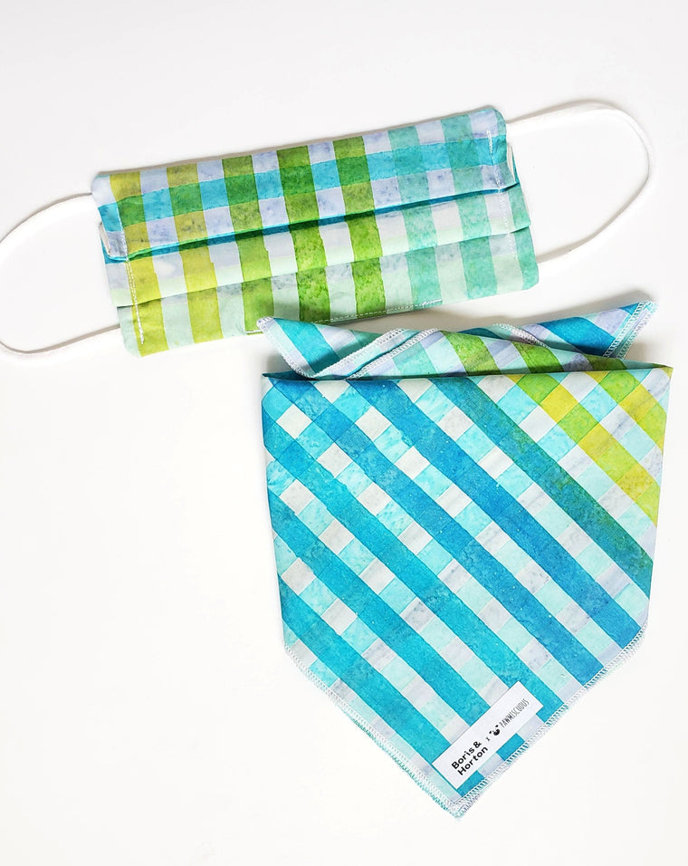 Boris & Horton x Pawmiscuous Face Mask and Bandana Set in Summer Plaid