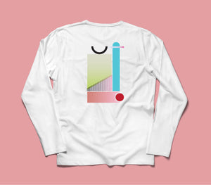 Trzy - Long Sleeve Back Print T-shirt - White