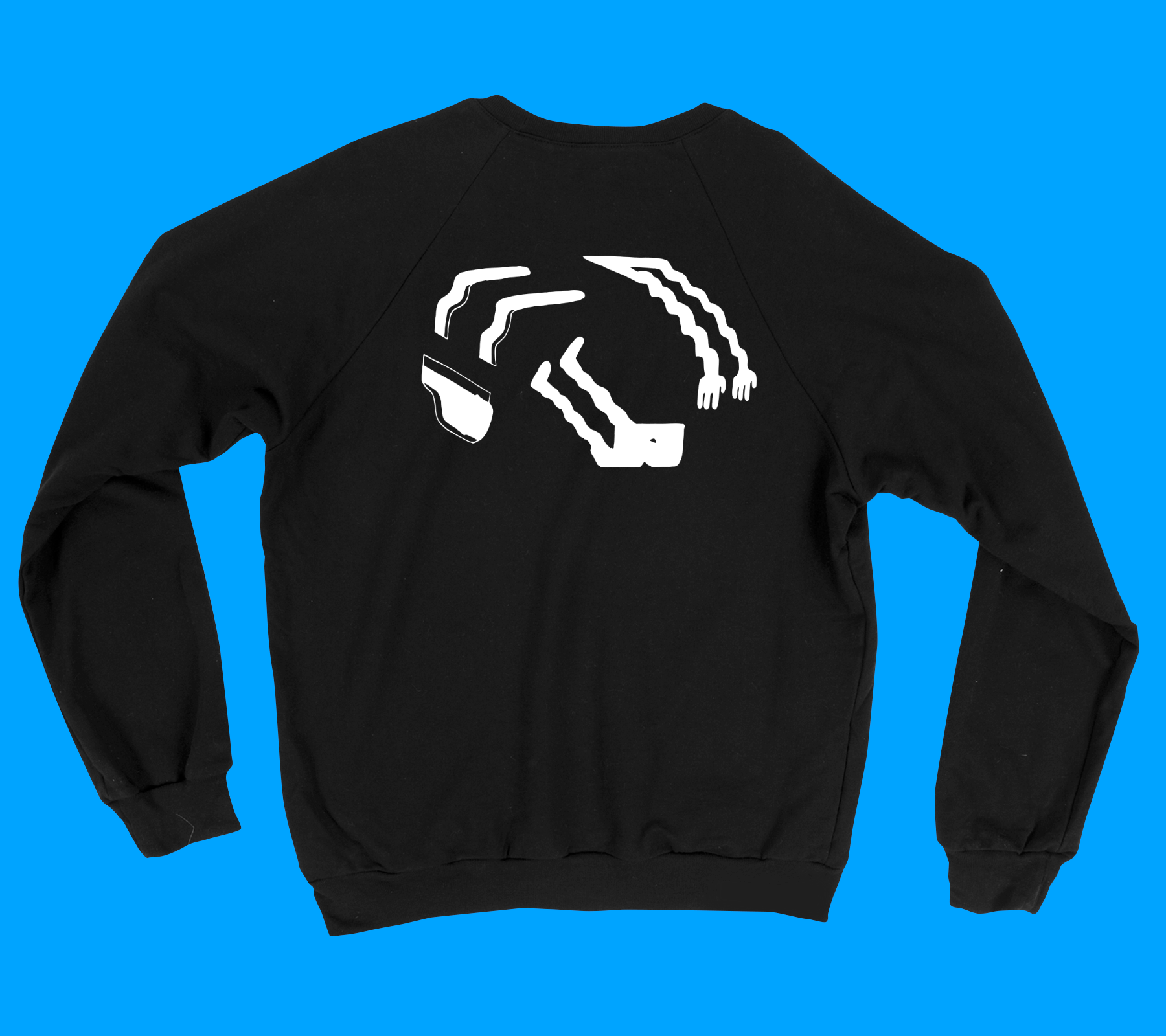 Twist - Back Print Crew Neck Sweatshirt - Black