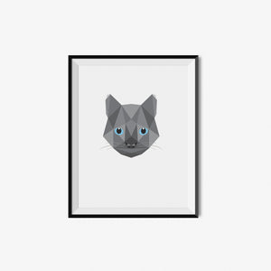 Grey Cat - Geometric Art