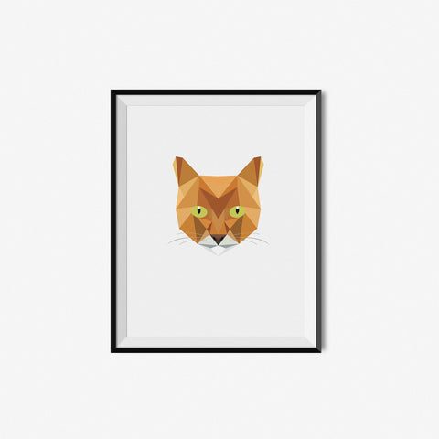 Orange Cat - Geometric Art