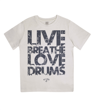 RAW Live Breathe Love Drums Kids Tee