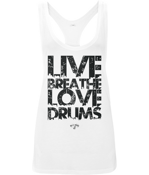 RAW Live Breathe Love Drums Ladies Low Cut Racer Back Vest