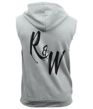 R&W Large Black Logo Sleeveless Zipped Hoodie