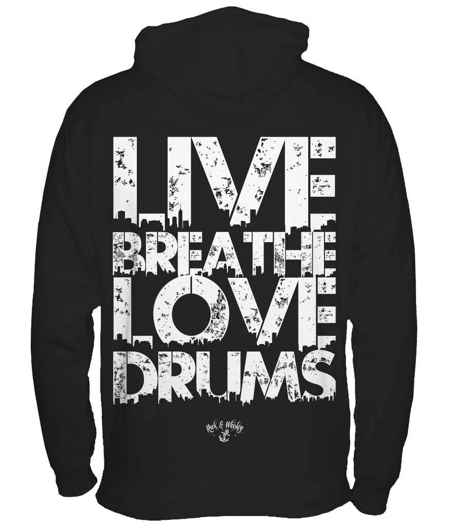 RAW Live Breathe Love Drums Zip Up Hoodie