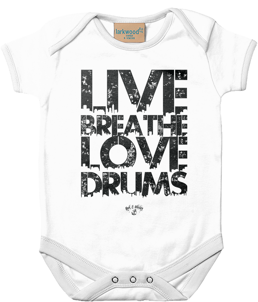 RAW Live Breathe Love Drums Baby Grow