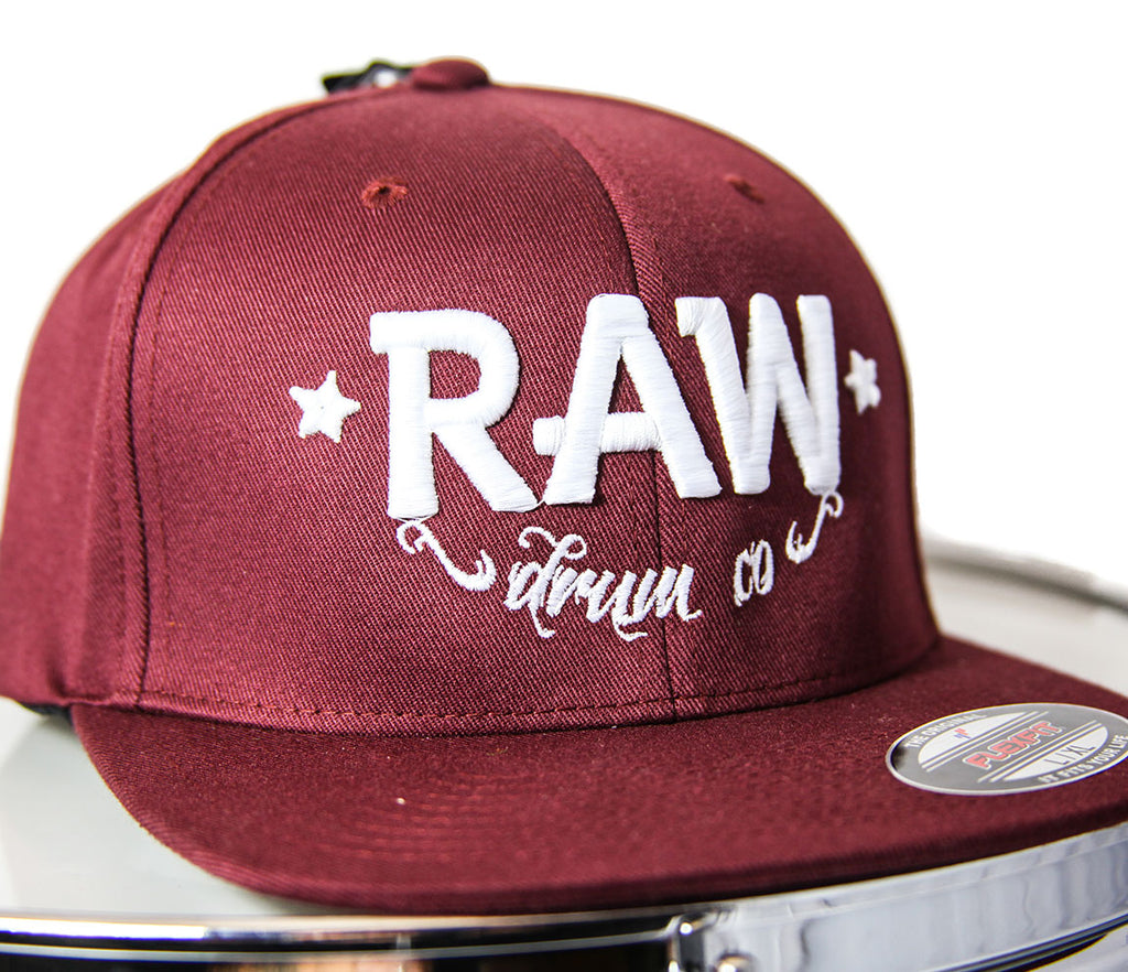 RAW FlexFit Fitted Cap - Burgundy and White