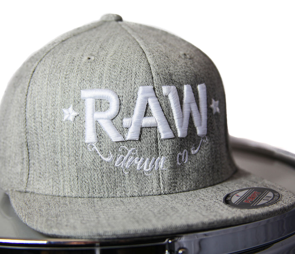 RAW FlexFit Fitted Cap in Heather and White