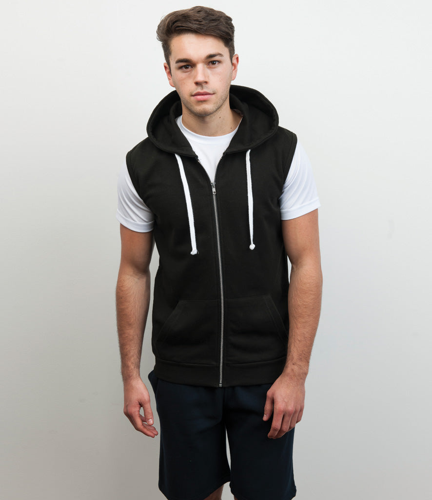 R&W Large Logo Sleeveless Zipped Hoodie