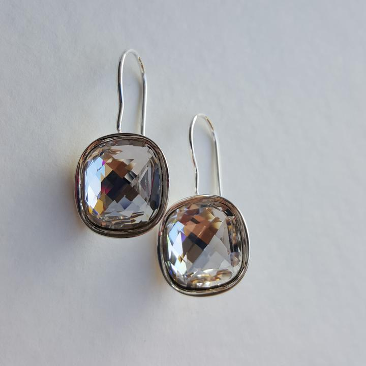 Cushion Cut Swarovski Drop Earrings - Aloraflora Jewelry