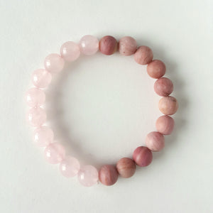 Rose Quartz and Frosted Rhodonite Bracelet - Aloraflora Jewelry