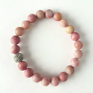 Frosted Rhodonite and Lava Essential Oil Bracelet - Aloraflora Jewelry