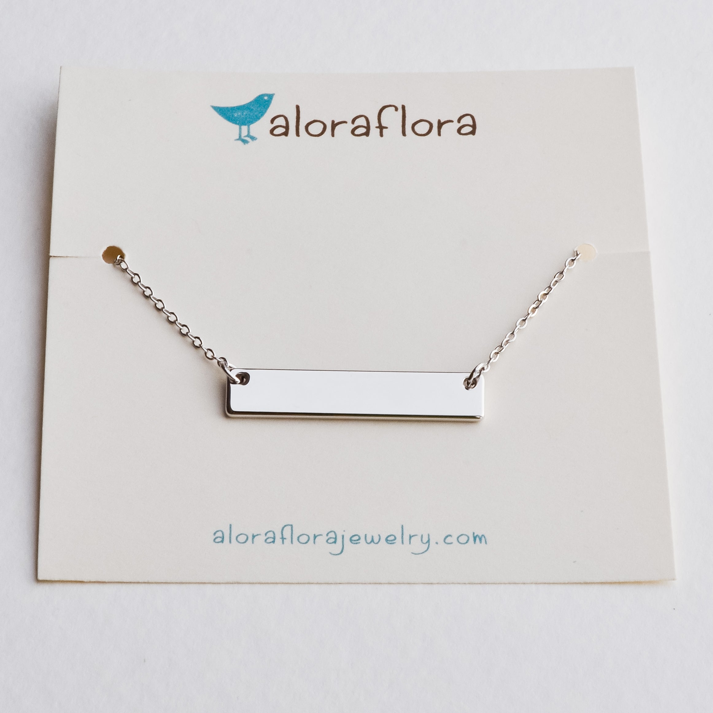 Silver Bar Necklace - Aloraflora Jewelry