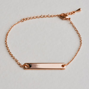 Rose Gold Bar Bracelet - Aloraflora Jewelry