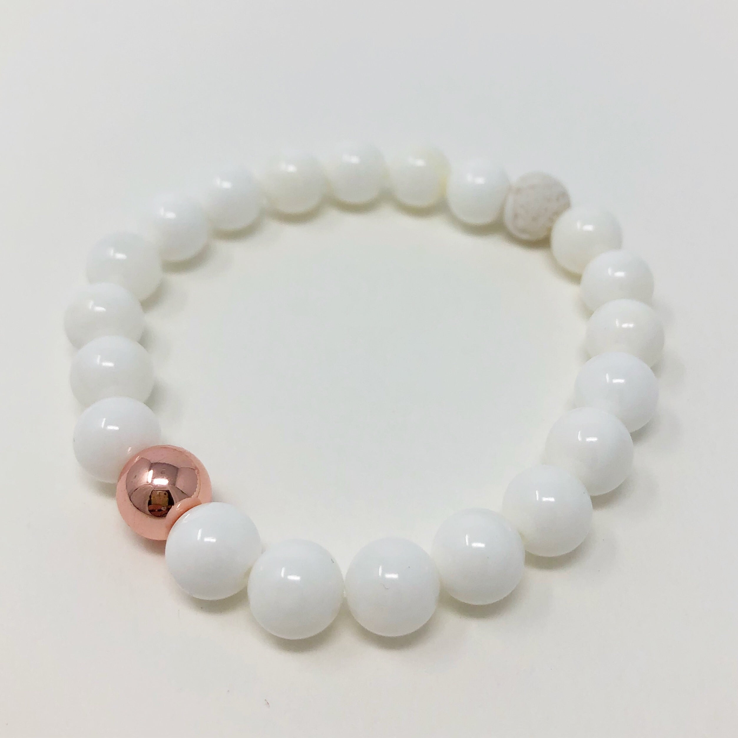 White Agate and Rose Gold Hematite Bracelet - Aloraflora Jewelry