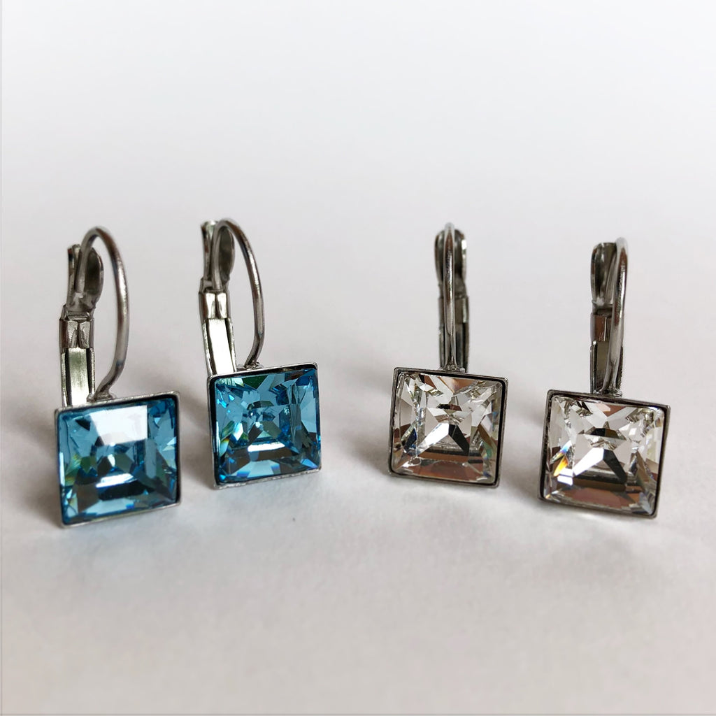 Swarovski Square Drop Earrings 8mm - Aloraflora Jewelry