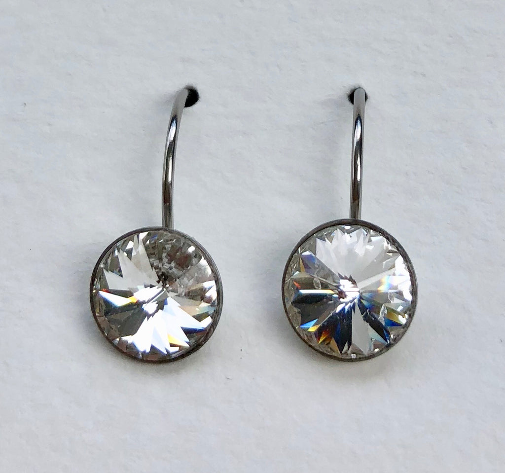 Swarovski Rivoli Drop Earrings, 8mm - Aloraflora Jewelry
