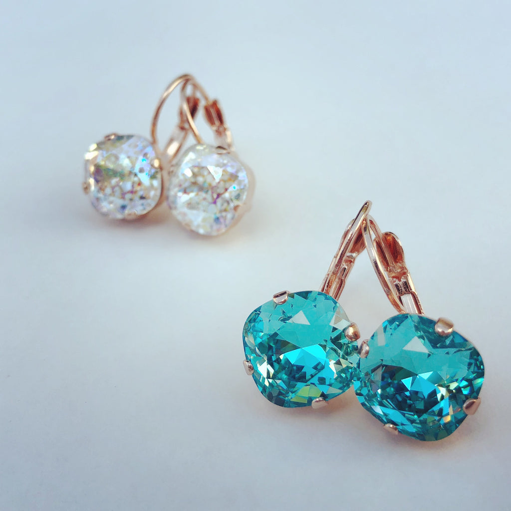 Rose-gold Square Swarovski Drop Earrings - Aloraflora Jewelry