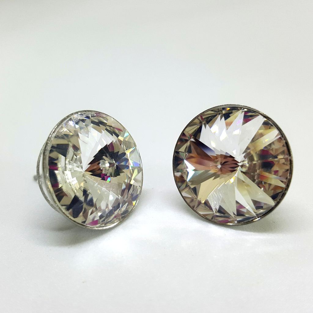 Swarovski 14mm stainless steel stud earrings - Aloraflora Jewelry
