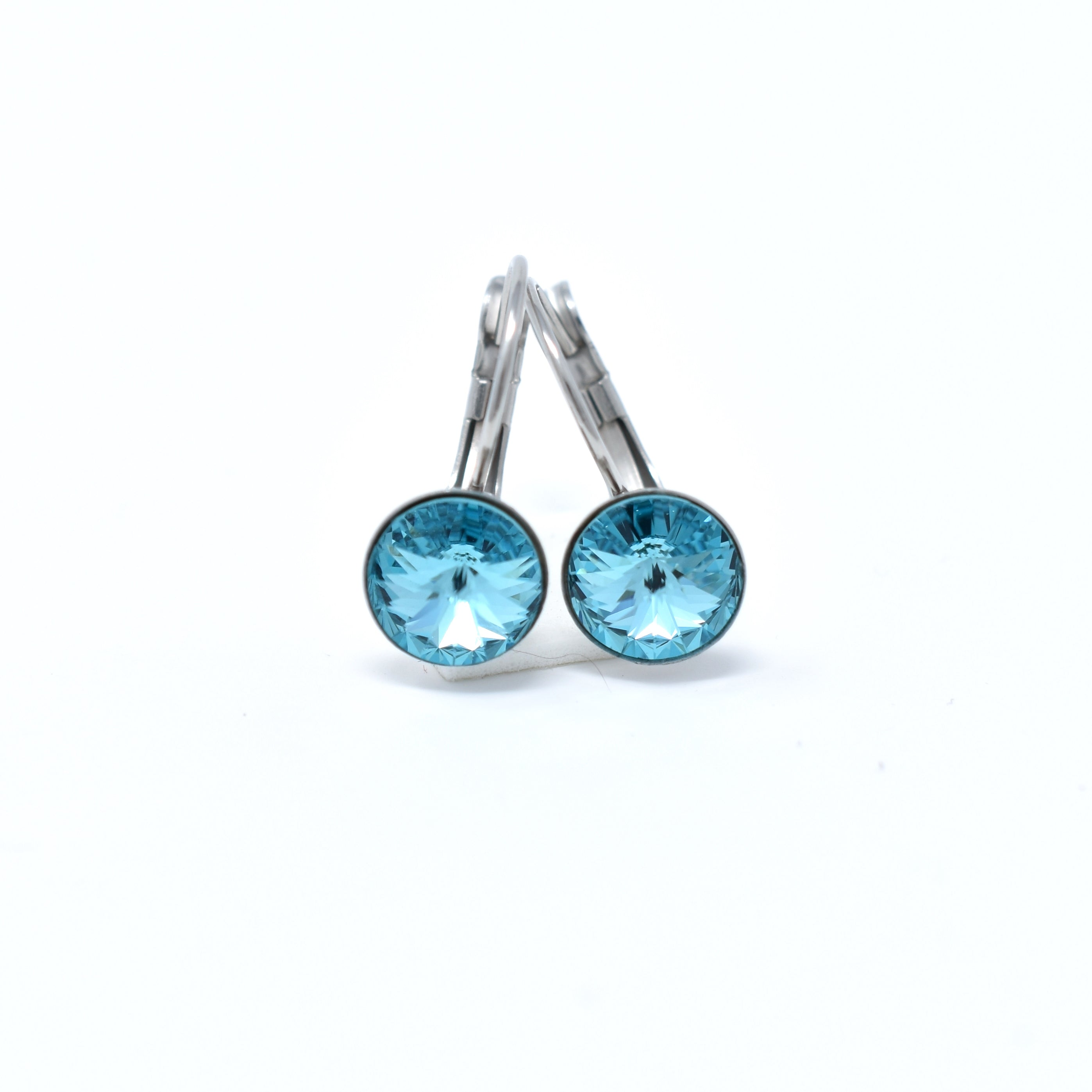 Stainless Steel Round Swarovski Drop Earrings - 8mm