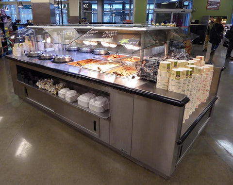 MOASI Custom Hot Food and Soup Island with End Container Shelf - Mother Of All Soup Bars - Custom - Any Size - Multi-Function - Call For Info!