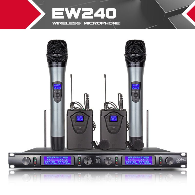 XTUGA EW240 4 Channel Wireless Microphones System