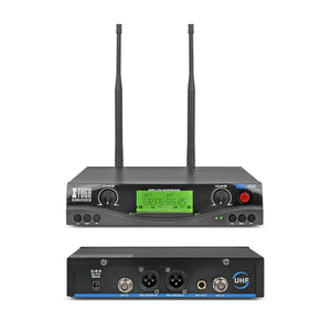XTUGA audio UHF Wireless Microphones with Screen Distance 2 Channel Headset Mic System Stage Karaoke/ Bar/ Party/ Church