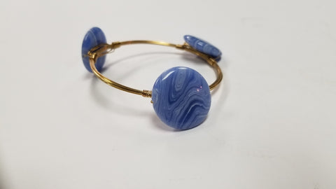 Blue Swirl Bangle Bracelet