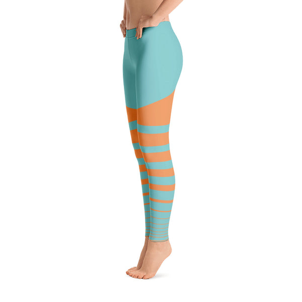 Blue - Orange Striped Leggings