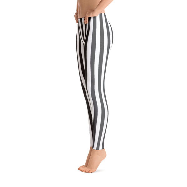 Black - White Striped Leggings