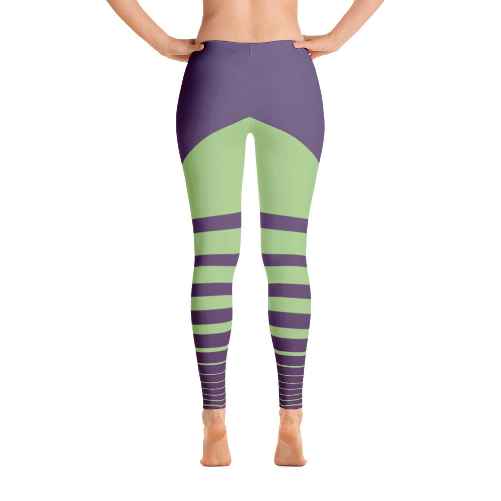 Purple - Green Striped Leggings