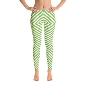 Green - White Striped Leggings