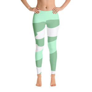 Green - White Patterned Leggings