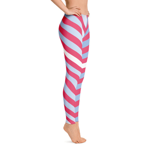 Red - Blue - White Striped Leggings