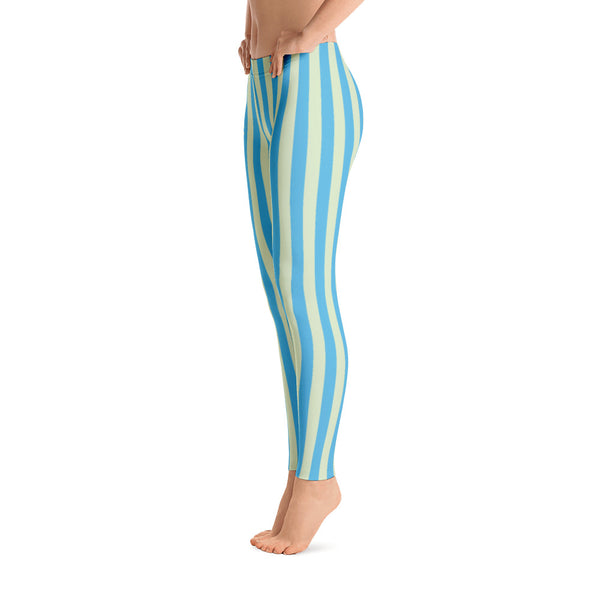 Blue - Green Striped Leggings