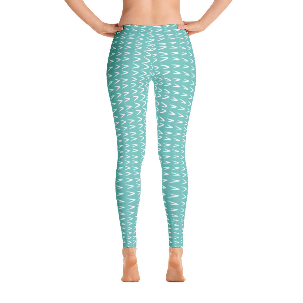Green White Patterned Leggings
