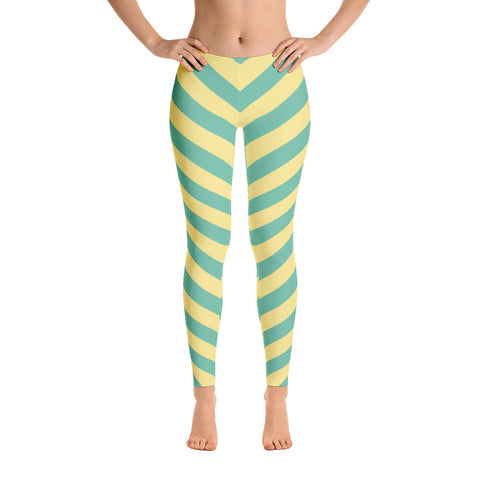Green - Yellow Striped Leggings