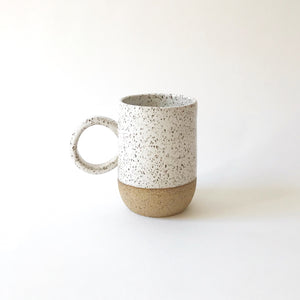 Medium Mug - Raw Speckled Clay/White