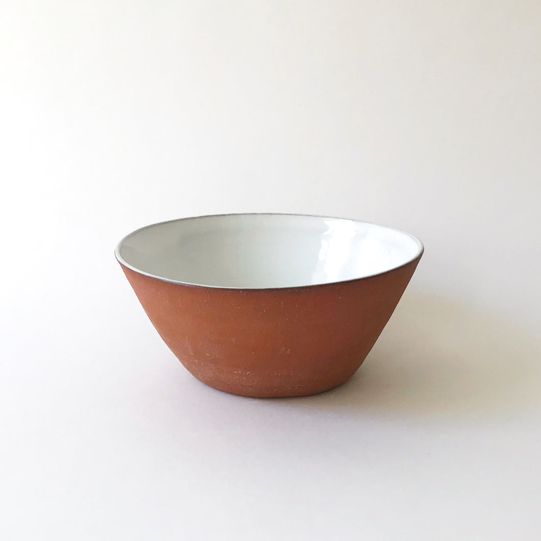 Medium Bowl - Raw Red Clay/White