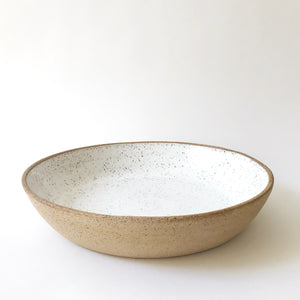 Large Serving Bowl - Raw Speckled Clay/White