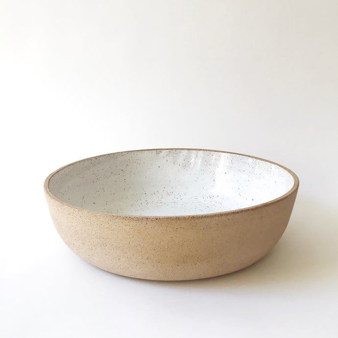 Medium Serving Bowl - Raw Speckled Clay/White