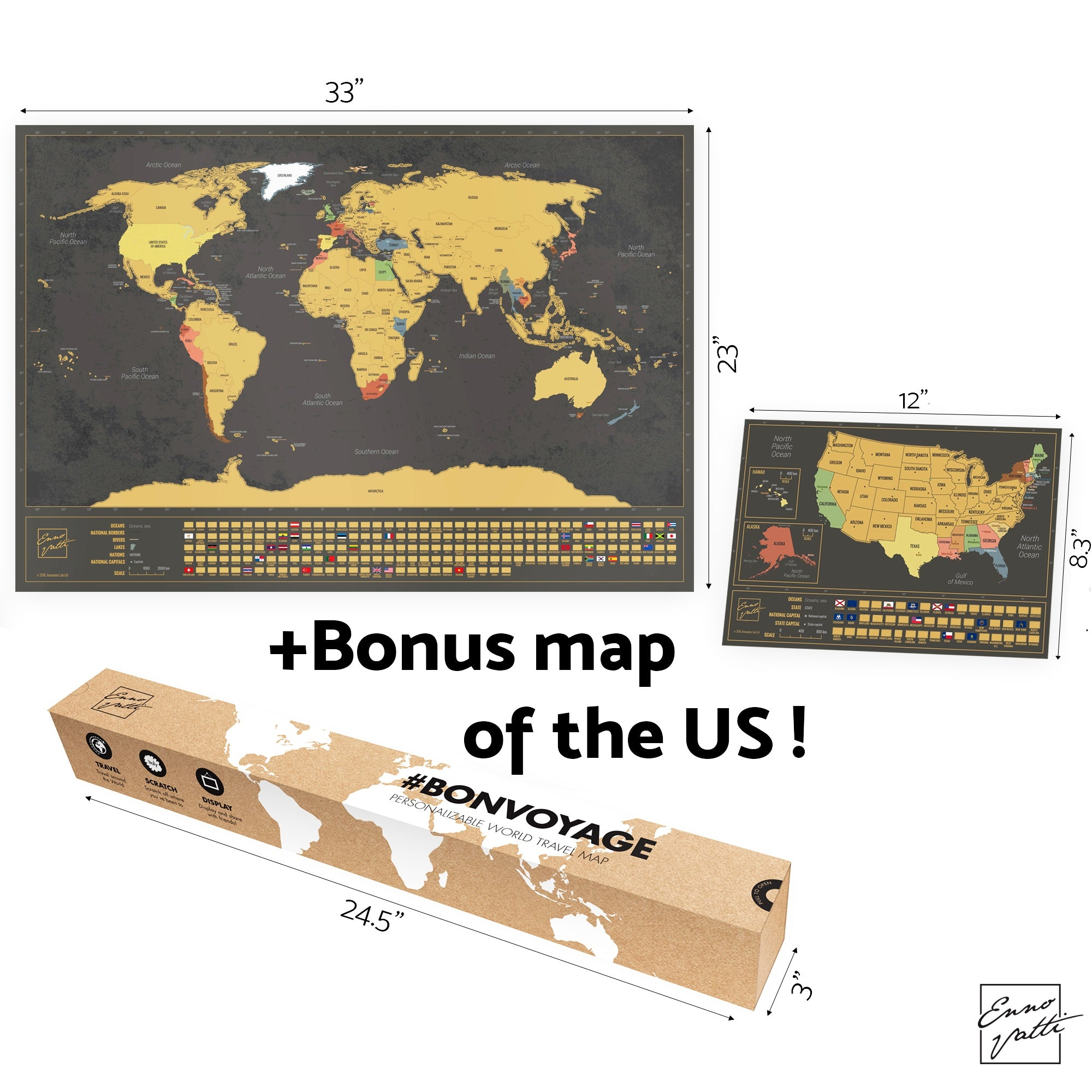 Enno Vatti Scratch Off World Map with Flags (Black)