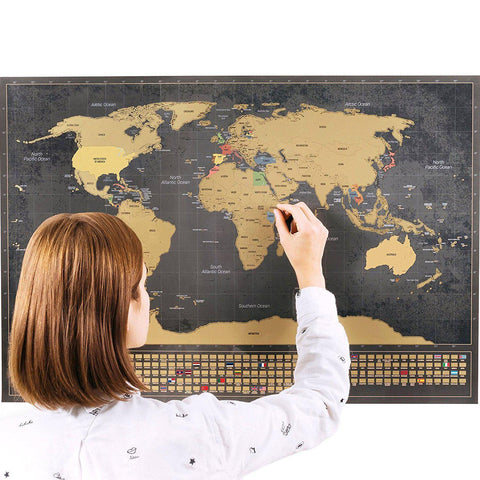 Scratch-Off World Map (Black, English)-Enno Vatti