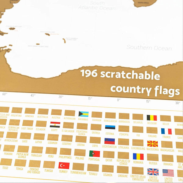 Scratch-Off World Map (White, English)-Enno Vatti