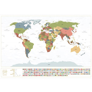 Scratch-Off World Map (White, English) - Enno Vatti