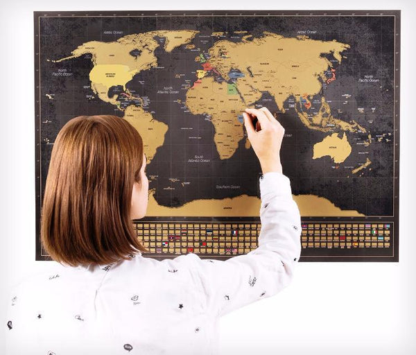 Enno Vatti Scratch Off World Map With Flags Black