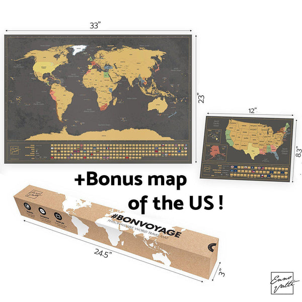 Scratch Off World Map with Bonus A4 US Map (Deluxe)-Enno Vatti